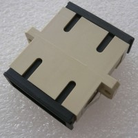 Duplex Plastic SC Fiber Optic Adapter Beige Color Ceramic Sleeve