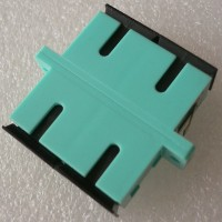 Duplex Plastic SC Fiber Optic Adapter Aqua Color Ceramic Sleeve