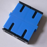 Duplex Plastic SC Short Flange Fiber Adapter Blue Color Ceramic Sleeve