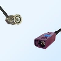 Fakra D 4004 Bordeaux Female - BNC Male R/A Coaxial Cable Assemblies