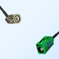 Fakra E 6002 Green Female - BNC Male R/A Coaxial Cable Assemblies