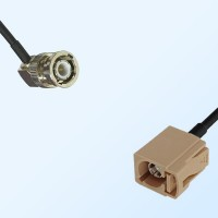 Fakra I 1001 Beige Female - BNC Male R/A Coaxial Cable Assemblies