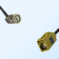 Fakra K 1027 Curry Female - BNC Male R/A Coaxial Cable Assemblies