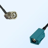 Fakra Z 5021 Water Blue Female - BNC Male R/A Coaxial Cable Assemblies