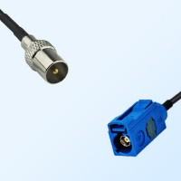 Fakra C 5005 Blue Female - DVB-T TV Male Coaxial Cable Assemblies