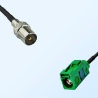 Fakra E 6002 Green Female - DVB-T TV Male Coaxial Cable Assemblies