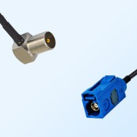 Fakra C 5005 Blue Female - DVB-T TV Male R/A Coaxial Cable Assemblies