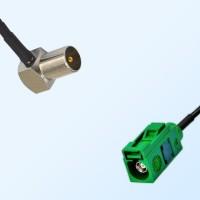 Fakra E 6002 Green Female - DVB-T TV Male R/A Coaxial Cable Assemblies