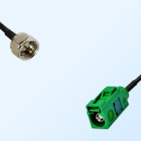 Fakra E 6002 Green Female - F Male Coaxial Cable Assemblies