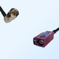 Fakra D 4004 Bordeaux Female - F Male R/A Coaxial Cable Assemblies