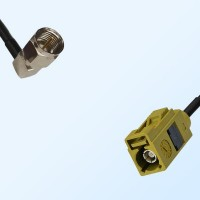 Fakra K 1027 Curry Female - F Male R/A Coaxial Cable Assemblies
