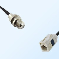 Fakra B 9001 White Female - F Bulkhead Female Coaxial Cable Assemblies