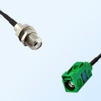 Fakra E 6002 Green Female - F Bulkhead Female Coaxial Cable Assemblies
