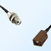 Fakra F 8011 Brown Female - F Bulkhead Female Coaxial Cable Assemblies