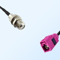 Fakra H 4003 Violet Female - F Bulkhead Female Cable Assemblies