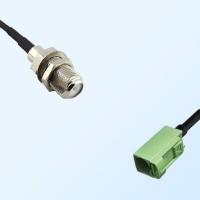 Fakra N 6019 Pastel Green Female - F Bulkhead Female Cable Assemblies