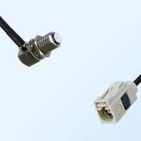 Fakra B 9001 White Female - F Bulkhead Female R/A Cable Assemblies