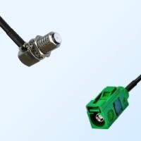Fakra E 6002 Green Female - F Bulkhead Female R/A Cable Assemblies