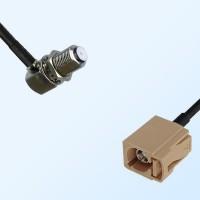 Fakra I 1001 Beige Female - F Bulkhead Female R/A Cable Assemblies