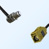 Fakra K 1027 Curry Female - F Bulkhead Female R/A Cable Assemblies