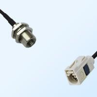 Fakra B 9001 White Female - FME Bulkhead Male Coaxial Cable Assemblies