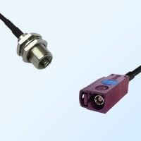 Fakra D 4004 Bordeaux Female - FME Bulkhead Male Cable Assemblies