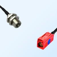 Fakra L 3002 Carmin Red Female - FME Bulkhead Male Cable Assemblies