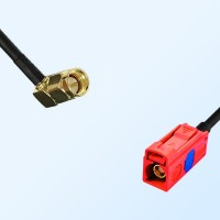 Fakra L 3002 Carmin Red Female - SMA Male R/A Coaxial Cable Assemblies