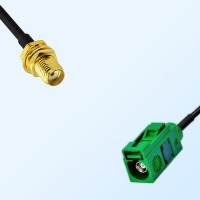 Fakra E 6002 Green Female - SMA Bulkhead Female Cable Assemblies