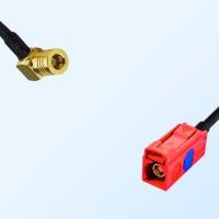 Fakra L 3002 Carmin Red Female - SMB Female R/A Cable Assemblies