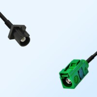 Fakra E 6002 Green Female - Fakra A 9005 Black Male Cable Assemblies