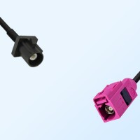 Fakra H 4003 Violet Female - Fakra A 9005 Black Male Cable Assemblies
