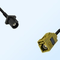 Fakra K 1027 Curry Female - Fakra A 9005 Black Male Cable Assemblies