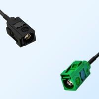 Fakra E 6002 Green Female - Fakra A 9005 Black Female Cable Assemblies