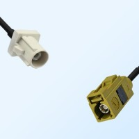 Fakra K 1027 Curry Female - Fakra B 9001 White Male Cable Assemblies