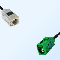 Fakra E 6002 Green Female - Fakra B 9001 White Female Cable Assemblies