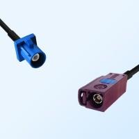 Fakra D 4004 Bordeaux Female - Fakra C 5005 Blue Male Cable Assemblies