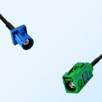 Fakra E 6002 Green Female - Fakra C 5005 Blue Male Cable Assemblies
