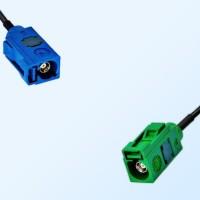 Fakra E 6002 Green Female - Fakra C 5005 Blue Female Cable Assemblies