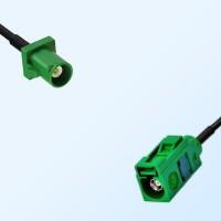 Fakra E 6002 Green Female - Fakra E 6002 Green Male Cable Assemblies