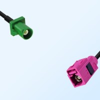 Fakra H 4003 Violet Female - Fakra E 6002 Green Male Cable Assemblies