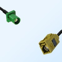 Fakra K 1027 Curry Female - Fakra E 6002 Green Male Cable Assemblies