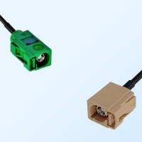 Fakra I 1001 Beige Female - Fakra E 6002 Green Female Cable Assemblies