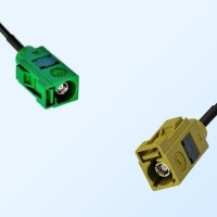 Fakra K 1027 Curry Female - Fakra E 6002 Green Female Cable Assemblies