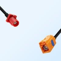 Fakra L 3002 Carmin Red Male Fakra M 2003 Pastel Orange Female Cable