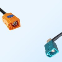 Fakra M 2003 Pastel Orange Female Fakra Z Water Blue Female R/A Cable