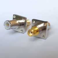 4 Hole 17.5x17.5mm BNC Male Quick Push-on to SMA Female RF Adapter