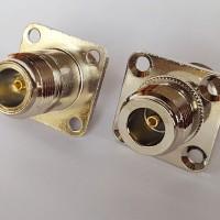 4 Hole Panel Mount 25x25mm N Female to N Female RF Adapter