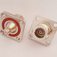 4 Hole 25x25mm N Female to SMA Female with O-Ring RF Adapter