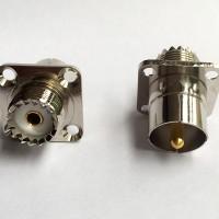 4 Hole 25x25mm UHF Male Quick Push-on to UHF Female RF Adapter